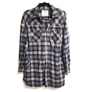 ROOTS Flannel Plaid Button Down Shirt Dress M/L